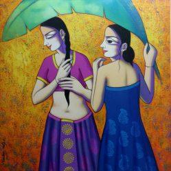 Women Enjoying Rain